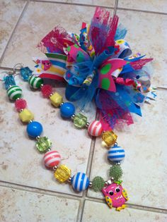 funky loopy Hair Bow and Chunky Beaded Bubblegum by holliemartin, $30.00