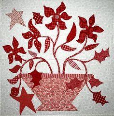 Red-and-white flower block by Sujata Shah, design by Blackbird Designs