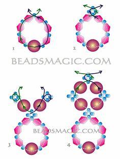 Free pattern for beautiful beaded earrings Alberta U need: seed beads bicone beads 4 or 6 mm pearl beads 6 or 8 mm Beaded Earrings Patterns, Beading Patterns Free, Beaded Bracelets, Free Pattern, Embroidery Bracelets, Seed Bead Jewelry, Bead Jewellery, Seed Beads, Hama Beads