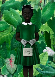 Ruud van Empel. Interesting juxtaposition of innocent child with wild jungle background.