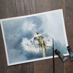 Одуванчик. Пожалуй, самый быстрый мой рисунок... Доступно для продажи  #art #watercolorpainting #watercolor #artoftheday #topcreator #chertihinaart #dendelion #spring #искусство #живопись #акварель