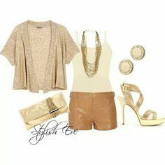 Short piel camel + chaqueta brillo