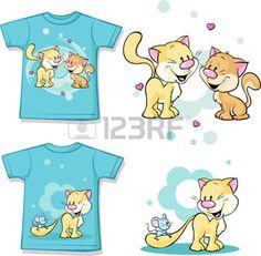 Kinderhemd mit niedlichen Katze in der Liebe gedruckt - isoliert auf wei�, R�cken und Vorderansicht photo