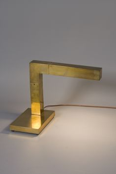 Adjustable Pivoting Square Brass Desk Lamp by Chapman, 1970s.