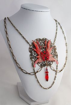 Fire Fairy Necklace in Red Colleen Fairy Wings by OnGossamerWings