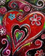 Happy Valentine's Day--Hearts and Flowers