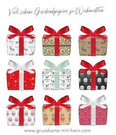 Geschenkpapier für Weihnachten 50 x 70 cm erhältlich bei Grußkarte mit Herz