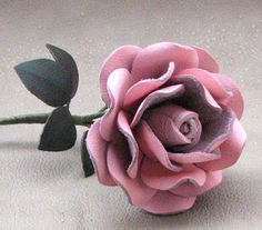 Pink Leather Rose Wedding/ 3rd Anniversary Gift by Leatherblossoms