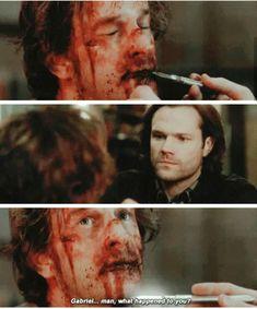 "Sam and Gabriel>>>Gabe's eyes just scream ""I missed you"""