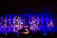 14. Rostocker Lichtwoche | Illuminiertes Portal des Universitätsgebäudes beim Rostocker Lichtfest (c) Frank Koebsch (1)