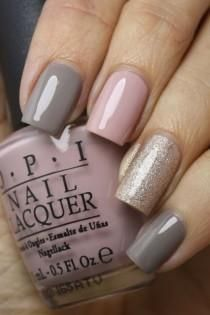 Soft tones of pink, gray & glitter