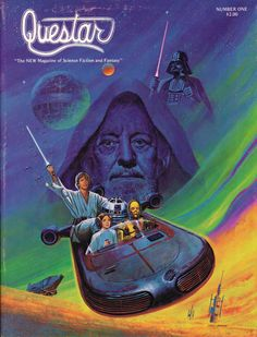 """oldschoolfrp: """" martinlkennedy: """" Superb Ken Barr painting for the front cover of glossy fanzine Questar issue 1, 1978. Refreshing emphasis on Obi Wan Kenobi in the picture. For once Darth Vader is..."""