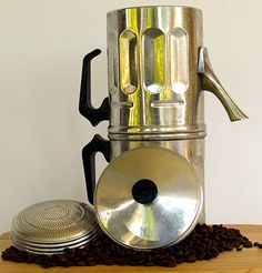"""A Neapolitan Flip Coffee Maker is a very old-fashioned drip-coffee maker to make very strong coffee. It is actually a French design that has been taken to heart by Italians -- particularly people in Naples. It's the coffee pot that you see in classic Italian movies, such as """"Roma, città aperta"""" by Roberto Rossellini."""