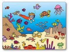 Troisième de la série des jeux de topologie, le jeu sur le thème de la mer et des poissons. jeu de topologie mer et poissons