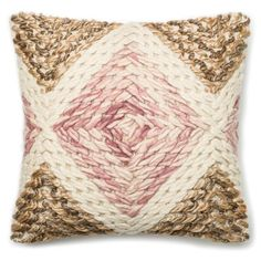 Handwoven Beige and Pink Pillow