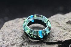 Wood resin ring Mirage Eco epoxy jewelry Green Wood rings the