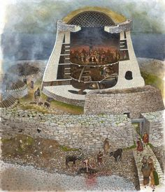A fantastic new illustration of Clickimin broch, Shetland by David Simon. This is a groundbreaking drawing because it's the first to feature a hypothetical turf covered roof with grid frame.