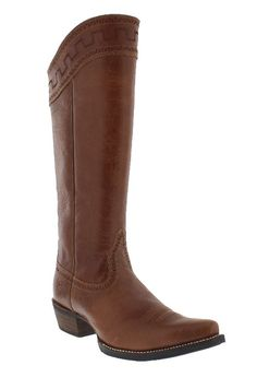 """Ariat Women's 15"""" Sahara Maple Sugar Snip Toe Boots  These boots from Ariat are definitely show stoppers with their dramatic, tall stovepipe shafts that taper from 15 3/4"""" in the front to 13 1/2"""" inches in the back. The shaft collar features distinctive tan Egyptian contrast stitching that is echoed along the top of the foot."""