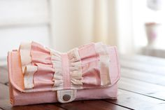 iPhone SmartPhone Clutch Wallet - Sweet Temptation Ruffled Silk Clutch with ID pocket and Wristlet Strap in Shabby Pink