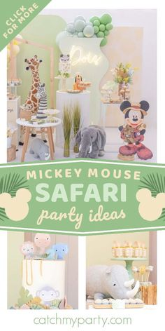 Don't miss this fun Mickey Mouse safari-themed birthday party! Love the party decorations! See more party ideas and share yours at CatchMyParty.com Birthday Drinks, Safari Birthday Party, Jungle Party, Jungle Safari, Animal Birthday, Boy Birthday Parties, Mickey Mouse Parties, Mickey Party, Event Ideas