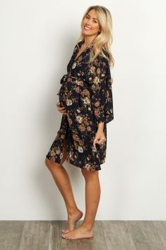 Navy Blue Floral Dressing Robe