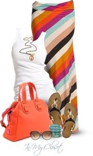 cute summer outfit - not sure how such a long maxi style skirt would look on me since I'm so short....