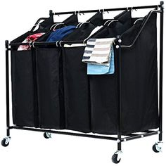 4 Bags Compartment Black Rolling Laundry Hamper Sorter Cart