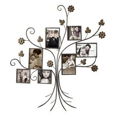 Adeco Trading 7 Opening Decorative Bronze-Color Iron Tree Photo Collage Wall…