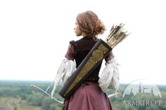 Medieval Archer Bowman Leather Quiver Etched brass accents