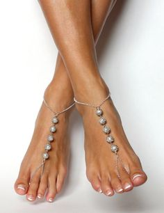 Ivory and Silver Chained Barefoot Sandals in White by BareSandals, $36.00