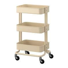Create a cute and simple rolling vanity cart from an IKEA Raskog Cart. A solution for shared bathrooms create an IKEA makeup vanity trolley. Raskog Ikea, Ikea Raskog Trolley, Raskog Utility Cart, Raskog Cart, Rolling Utility Cart, Rolling Storage, Island Cart, Kitchen Trolley, Office Supply Organization
