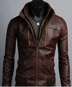 Men's Leather Jackets Korean Style Casual Slim Fit Biker leather jacket mens #Handmade #Fringejacket