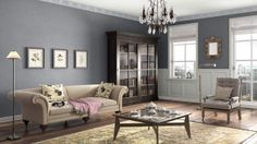 I created this English Romantic living room using Design By What Matters by Benjamin Moore. What's your design personality? #BenjaminMoore #DBWM