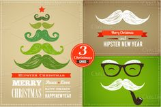 Check out set of Hipster Christmas cards by Marish on Creative Market