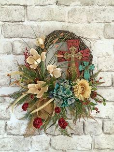 Cross Wreath, Front Door Wreath, Outdoor Wreath, Silk Floral Wreath, Grapevine Wreath, Rustic Cross Wreath, Fall Wreath, Summer Wreath, Wreath on Etsy, by Adorabella Wreaths!