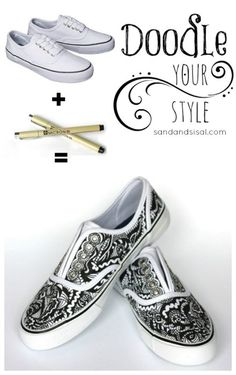 40 DIY Ideas for Decorating Your Sneakers - These kicks you can decorate with Zentangle doodling. This is a fun, new way of doodling!