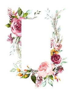 Credit in link Flower Backgrounds, Wallpaper Backgrounds, Iphone Wallpaper, Wallpapers, Flower Boarders, Flower Frame, Flower Art, Watercolor Flowers, Watercolor Art
