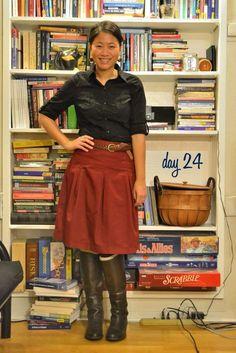 Pleated/Full Skirt, Button Down Shirt, Belt
