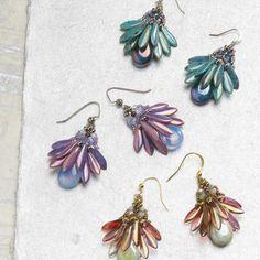 Customer favorite beading projects: 5 star pattern collection, Fan Flower earrings beading pattern