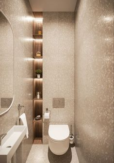 Toilet room - Simplicity beauty on Behance Washroom Design, Bathroom Design Luxury, Modern Bathroom Design, Toilet And Bathroom Design, Small Bathroom Interior, Niche Design, Wood Design, Small Toilet Design, Small Toilet Room