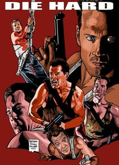 I did this drawing basically as a part of my collection of homages to my all-time favorite movies. Die Hard was fun to tackle. Best Movie Posters, Movie Poster Art, Cool Posters, Bruce Willis, Action Film, Action Movies, Cult Movies, Horror Movies, Love Movie