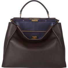 Fendi Peekaboo Large Bag ($4,250) ❤ liked on Polyvore featuring bags, handbags, shoulder bags, brown, black shoulder bag, shoulder strap bag, brown purse, purse and fendi handbags