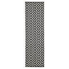 Colours Harrieta Geometric Black & white Runner (L)2m (W)0.6m   DIY at B&Q White Runners, Kingfisher, Wooden Flooring, Family Room, New Homes, Colours, Black And White, Modern, Design