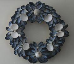 Coastal Shores Medium Blue Mussel Shell Wreath by nancylee97, $80.00