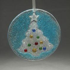 Christmas Tree Glass Ornament White Star Fused Glass. $28.00, via Etsy.