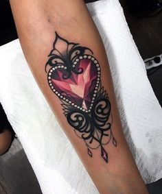 crystal & lace jewel heart tattoo