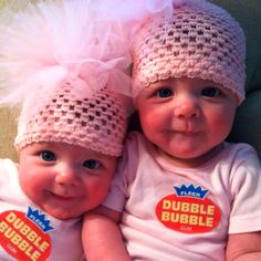 Identical twins- double bubble gum for Halloween