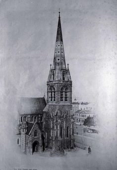This photo looks quite Eerie...The bell tower and spire, Christchurch Cathedral 1920s  It would make a great Christmas Card.