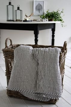 I think I will always love ticking stripes and quilts and baskets!