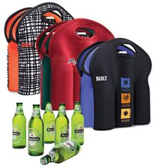 BT-5652 BUILT® Six Pack Tote, a Prime Line® exclusive. Made from protective neoprene – insulates six 12-20oz cans or bottles up to four hours (time varies depending on external temperatures) and folds flat for easy storage. Soft-grip handles. Stain resistant. Machine wash cold, drip dry.
